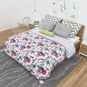 Magical Flower Printed Cotton Kantha Quilt Bedspread Throw