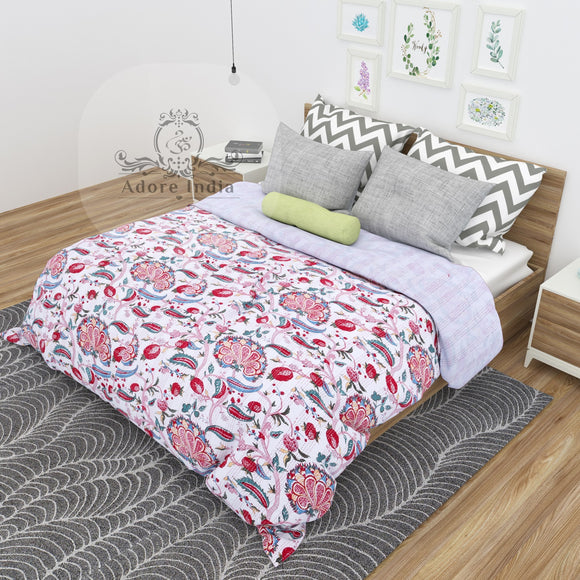 Melanie Flower Printed Cotton Kantha Quilt Bedspread Throw