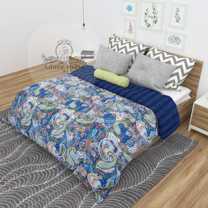Blue Paisley Print Cotton Kantha Quilt Bedspread Throw