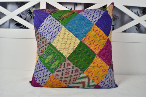 Silk Vintage Kantha Patchwork Euro Cushion Cover 5