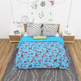 Aqua Blue Bird of Prey Cotton Kantha Quilt Bedspread Throw