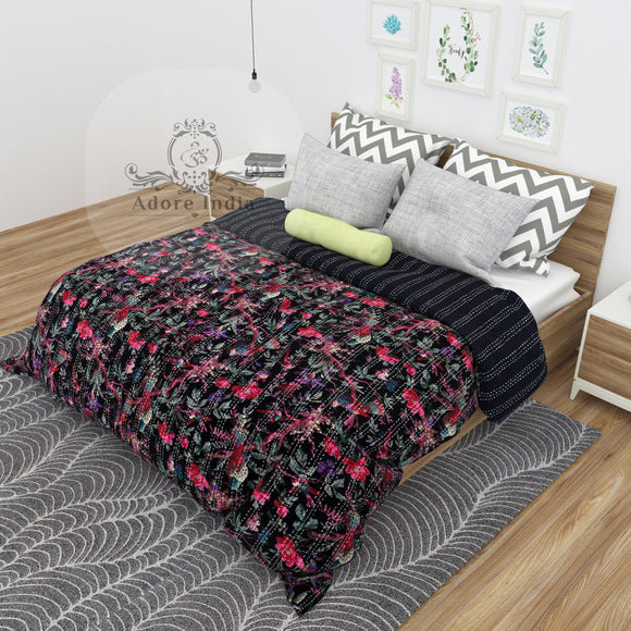 Black Bird of Prey Cotton Kantha Quilt Bedspread Throw