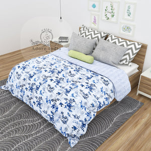 Paradise Bird Blue Cotton Kantha Quilt Bedspread Throw