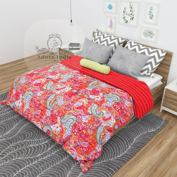 Red Paisley Print Indian Cotton Kantha Quilt Bedspread Throw