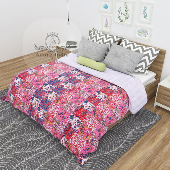 Pink Paisley Print Patchwork Cotton Kantha Quilt Bedspread