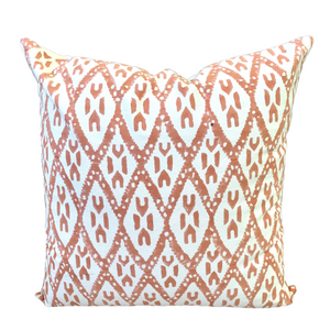 Peach Ikat Block Print Canvas Cotton Cushion Cover Pillow 2Pcs