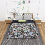 Black Paisley Print Cotton Kantha Quilt Bedspread Throw