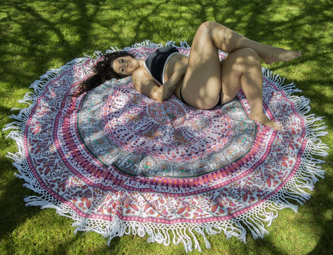 BOP Red Mandala Beach Round Throw