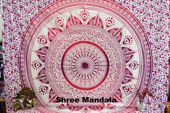 Daisy Pink Ombre Mandala Throw