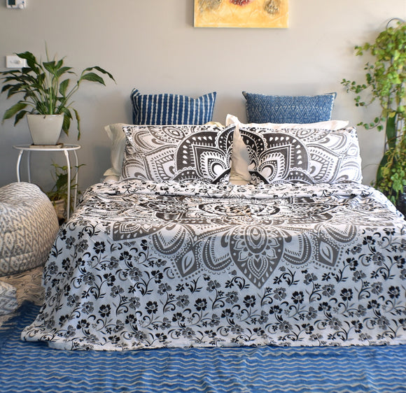 Passion Black and Grey Ombre Mandala Doona Cover Set