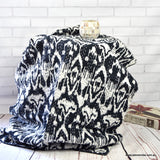 Handmade Black Ikat Cotton Reversible Kantha Quilt Bedspread Throw