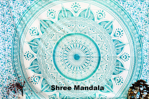 Daisy Sea Green Ombre Mandala Throw