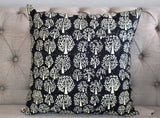 Tree of Life Black Hand Block Print Cushion