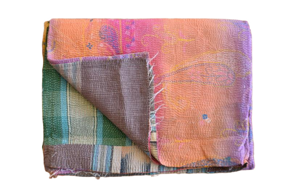 Indian Vintage Hand Made Kantha Quilt Throw Kamla