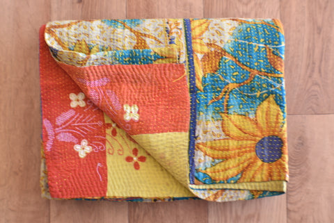 Indian Vintage Hand Made Kantha Quilt Throw Nirmala