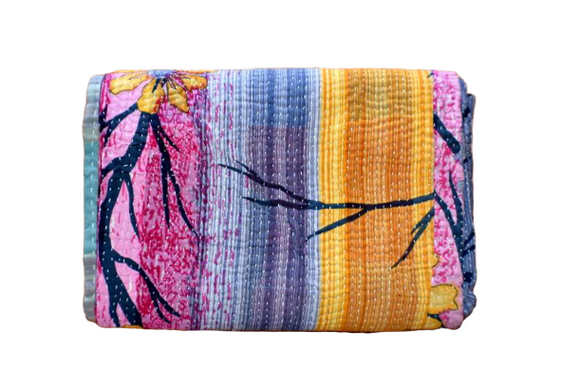Indian Handmade Cotton Reversible Vintage Kantha Quilt Bedspread Throw- Rama