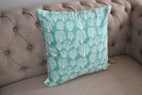Tree of Life Turquoise Hand Block Print Cushion