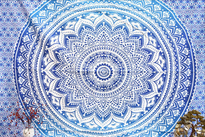 Yantra Blue Ombre Mandala Throw