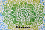 Passion Lime Blue Ombre  Mandala Throw