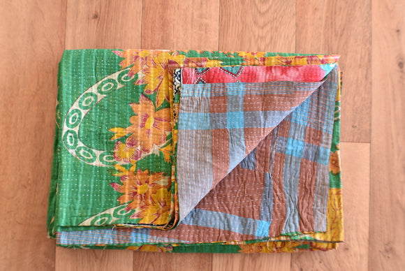 Indian Vintage Hand Made Kantha Quilt Throw Jubeda