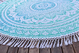 Yantra Turq Ombre Beach Mandala Round Throw