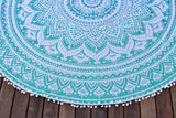 Yantra Turq Ombre Mandala Beach Round Throw
