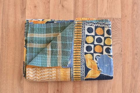 Indian Vintage Hand Made Kantha Quilt Tara