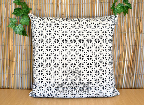Geometrical Block Print Cotton Dari Cushion Cover Euro Size 65x65cm