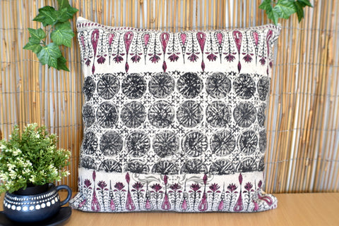 Block Print Tilak Cotton Dari Cushion Cover Burgundy Euro Size 65x65cm
