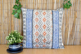 Geometrical Block Print Cotton Dari Cushion Cover Blue Org Size 65x65cm