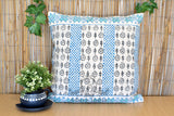 Block Print Star Cotton Dari Cushion Cover Teal Euro Size 65x65cm