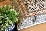 Block Print Wave Cotton Dari Cushion Cover Mustard Euro Size 65x65cm