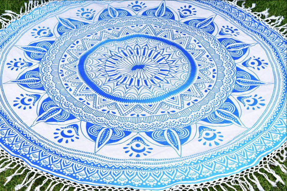 Daisy Blue Ombre Mandala Beach Round Throw