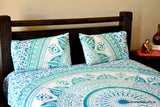 Daisy Sea Green Ombre Mandala Throw Set