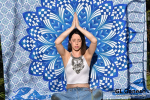 Ganesh Blue Ombre Mandala Throw