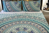 Bird of Prey Green Mandala Throw Set