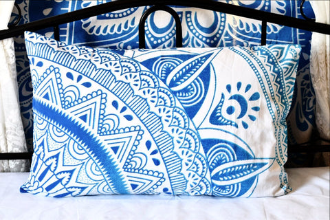 Daisy Blue Mandala Pillow Set
