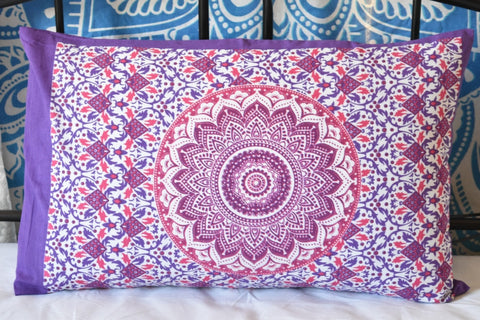 Yantra Pink Purple Mandala Pillow Set