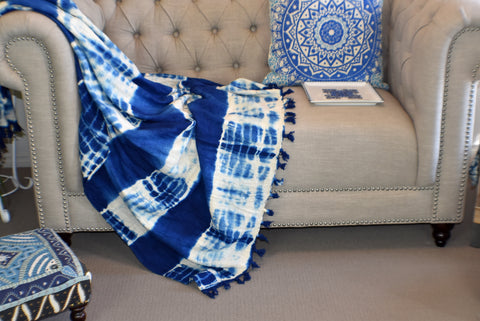 Indigo Tie and Dye Cotton Sluby Bohemian Throw