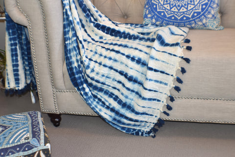 Indigo Tie and Dye  Shibori Cotton Sluby Bohemian Throw