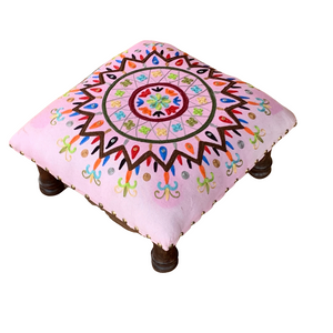 Baby Pink Multi Embroidery Wooden Decorative Vintage Footrest Mini Stool