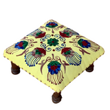 Yellow Multi Embroidery Wooden Decorative Vintage Footrest Mini Stool