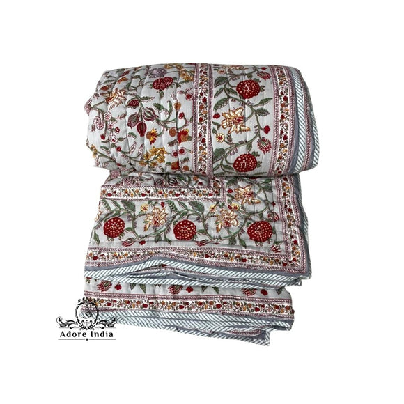 Fruity Grey Red Floral Cotton Padded Kantha Bedspread Quilt Comforter