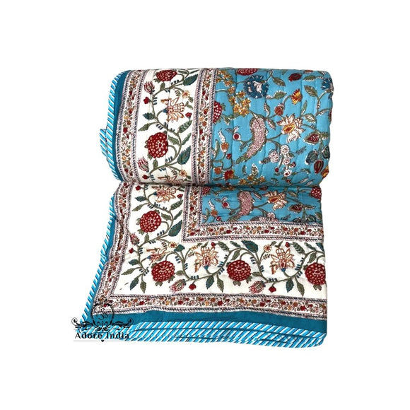 Fruity Turquoise Floral Cotton Padded Kantha Bedspread Quilt Comforter