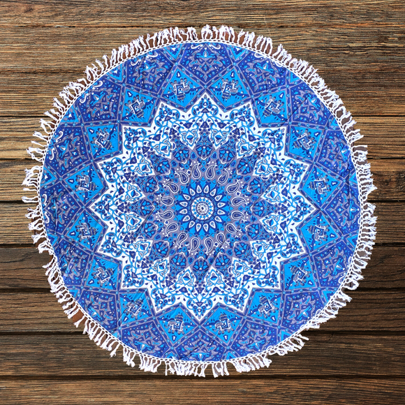 Good Luck Star Blue Mandala Beach Round Throw