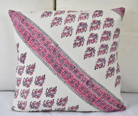 Hand Block Cushion Cover-Pink