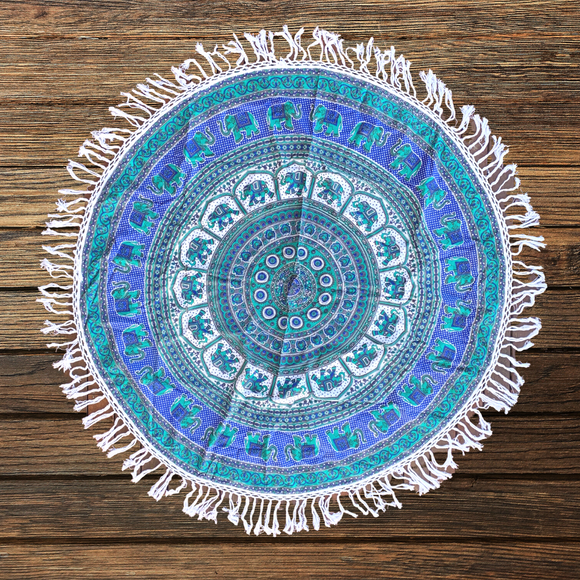 Good Luck King Mandala Beach Round Throw