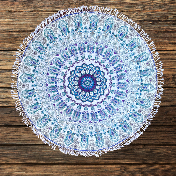 Beautiful  Blue Paisley Cotton Mandala Beach Round Throw