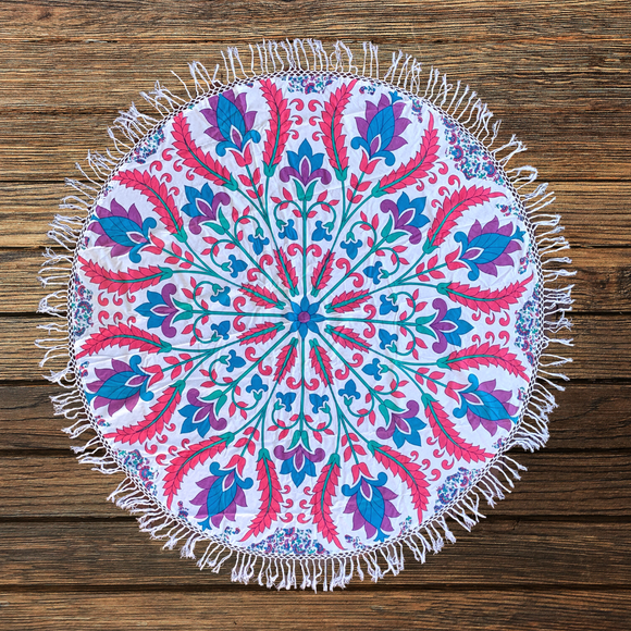 Multi Lotus Floral Cotton Mandala Beach Round Throw