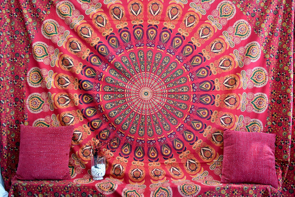Infinity Red Mandala Throw